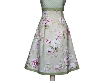 MISS HOLLY _ Dress with dots and roses, lime green, light green, green, old rose, pink, shabby chic, wedding bride, bridesmaid