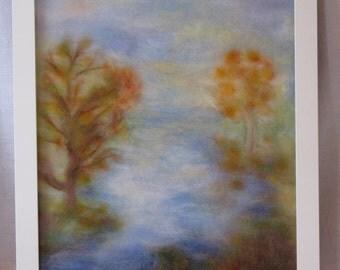 Autumn. Morning. Water. - wool fiber art, wall hanging, wool picture