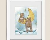 Moon and Stars Art for Nursery Wall Decor, 11 x 14 Teddy Bear Art, Girls Wall Art, Boys Room Art, Childrens Art Print   (242)