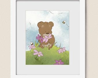 Pink Girls Wall Decor, 8 x 10 Teddy Bear Print for Nursery Room Art, Pink Girls Bedroom Art, Baby Girls Art (373)