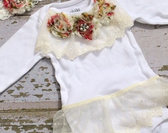 Ready to Ship-The Couture Mama Going Home Outfit, newborn photography prop, special outfit in vintage rose