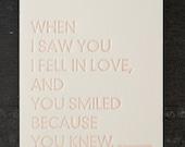 shakespeare quote. letterpress card. #235
