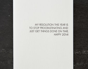 new year's resolution. letterpress card. silver envelope. graeber. #703