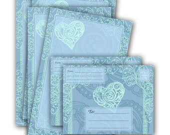 Faded Blue Hearts Note Sheets and Envelope - Printable Stationery Digital Download