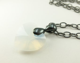 Crystal Opal Necklace Heart Necklace October Birthstone Necklace Crystal Necklace Opal Heart Milky White Dark Silver Gunmetal Opal