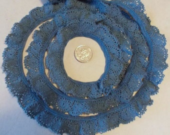 "6 Yds 3/4"" Wide Ruffled Blue Cotton Lace, Sewing Supplies, Craft Supplies, Gathered Lace"