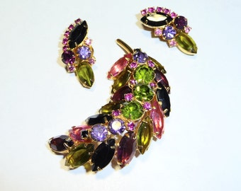Beautiful Vintage Prong Set Rhinestone Feather Spray Brooch Pin and Earrings Set on Etsy
