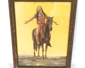 Vintage Art Native American Indian Horse American Indian Wooden Frame
