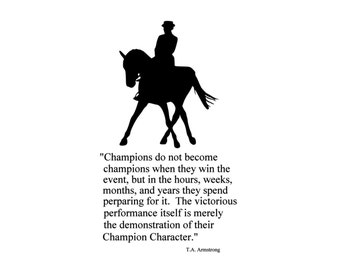 Horse, sports quote wall decal, girls room decor, college dorm wall decal, western wall sticker, teen bedroom decal, pony, 28 X 47 inches