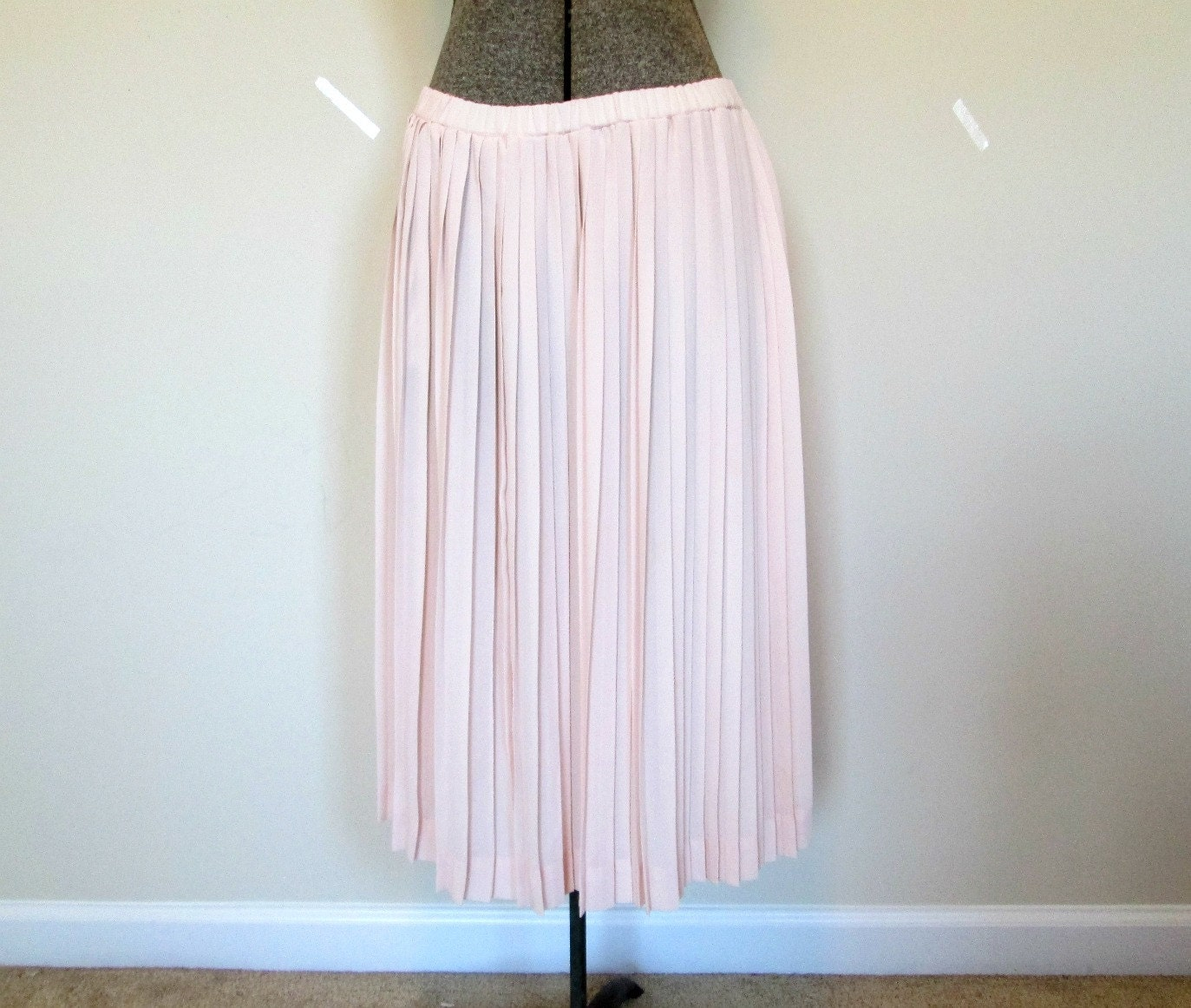 pink pleated skirt pale pastel pink by