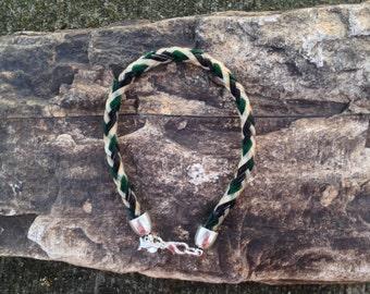 8 Inch Turquoise/Black/White Horse Hair Braided Horsehair Bracelet - 6MM Round Braid