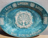 Personalized Wedding Gift, Couples Gift, Family Name, Tree of Life, MADE TO ORDER Large, Platter, Handmade, Big Dog Pots Pottery, Ceramic