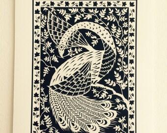 White Peacock - Print from original papercut A5