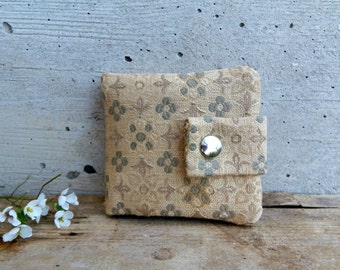 Mini damask wallet. Little coin purse in recycled damask with flowers. Unisex wallet in gold and military green