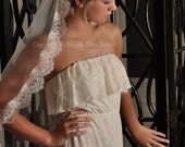 Lace Veil, Chantilly Lace Wedding Veil, French Lace - White, Light Ivory or Ivory