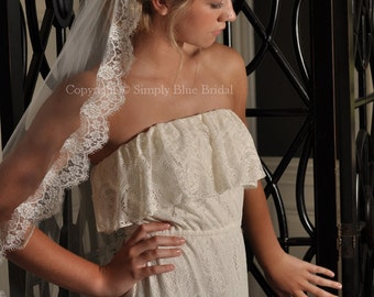Chantilly Lace Veil, French Lace - White, Light Ivory or Ivory