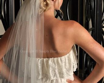 SALE - Ivory Short Wedding Veil, Swarovski Pearl Veil, Elbow Length - Scattered Swarovski Pearls - 10% DISCOUNT Damaged