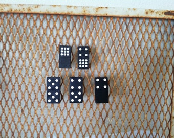 vintage domino magnets; set of 5