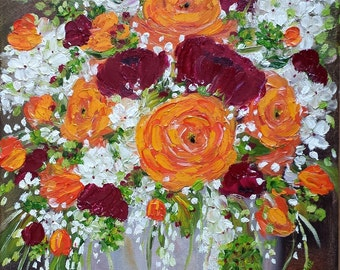 Brimming - orange flowers autumn fall still life, floral, roses centerpiece, nature, beauty, original oil painting,11x14