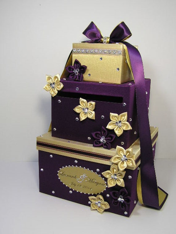 Gold Wedding Gift Box : Purple and Gold Wedding Card Box Gift Card Box Money Box Holder ...