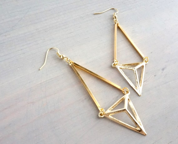 kaia geometric triangle gold dangle earrings by chastina on etsy. Black Bedroom Furniture Sets. Home Design Ideas