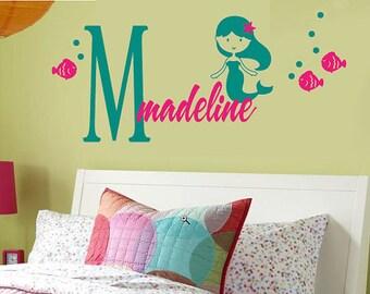 Childrens Wall Decal Monogram Name Mermaid Vinyl Decal Children EXTRA LARGE