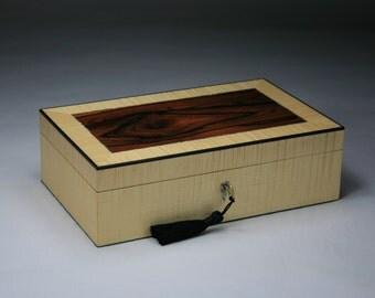 Kalos (Beautiful) Brazilian Rosewood Curly Maple Jewelry Box