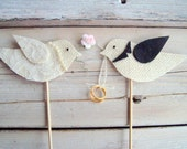 Cake topper-- love birds with flower and rings in Ivory burlap