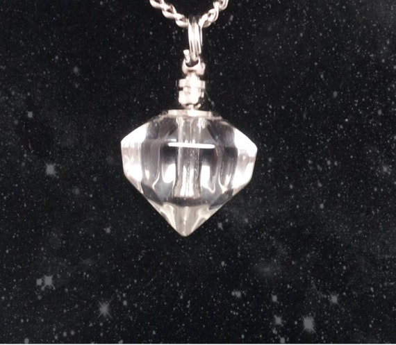 "Clear Crystal Diamond CREMATION URN on 24"" Silver Necklace  -   with Velvet Pouch and Mini Funnel"