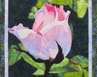 Rose Bud Original Art Quilt by Lenore Crawford