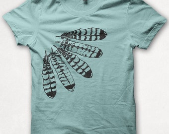 Womens Tshirt, Feather Shirt, Hawk Feathers, Forest and Fin, Screenprint, Graphic Tee - Aqua