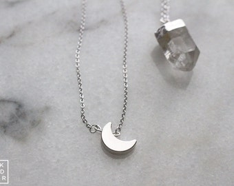 Minimalist Tiny Silver crescent moon necklace - dainty necklace - rhodium plated 15 inch BLKANDNOIR