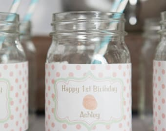 Floral Water Bottle Labels - Flower Birthday Party Decorations - Floral Labels - Flower Labels - Mason Jar Labels - Rustic Floral Theme (12)