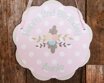 Floral Birthday Party Door Sign - Pink Flowers Birthday Party - Rustic Flowers Birthday Decorations - Girl Birthday Party - Flower Birthday
