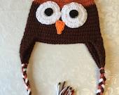 toddler 2T owl hat brown  boy girl unisex handmade gift idea for children kids babies christmas bird animal characters