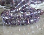 Amethyst Crystal Bronze Lumi Donut Czech Beads 25 Faceted Glass Rondelle Beads Gemstone-Cut