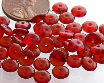 Garnet Rondelle Czech Glass Beads 6mm Disc 50