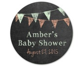 Personalized Baby Shower Stickers - Chalkboard Stickers - Custom Favor Labels - Banners - Pennants - Favor Stickers - Shower Labels