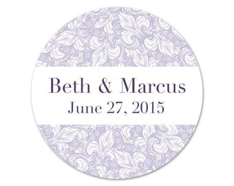 Personalized Wedding Stickers - Wedding Labels - Favors Stickers - Fleur de lis - Custom Favor Labels - Choose Your Colors