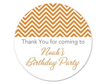 Custom Chevron Birthday Party Stickers - Personalized Favor Labels - Custom Birthday Stickers - Favors - Choose Your Colors