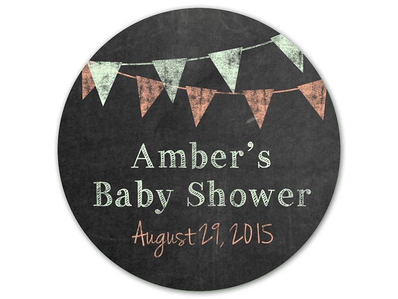 personalized baby shower stickers chalkboard by modernzebradesign