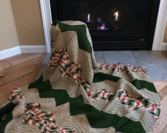 Forest Chevron Throw Blanket