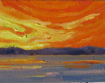 Gold Treasure, original framed 5 x 7 inch (13 x 18 cm)  oil on canvasboard painting by Yvonne Wagner. Coucher du Soleil. Sunset. SFA.