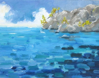 Tranquility, 8 x 6 inch (20 x 15 cm) original oil painting. Yvonne Wagner. Seascape. Caribbean. Meditation. Unframed. Free Shipping to USA.