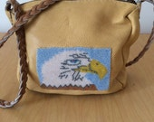 Handmade Leather Purse Beaded Eagle