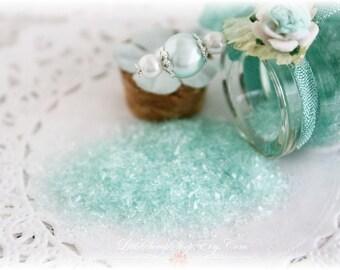 Glitter Glass Bottles .5 Ounces, Hand Tinted Diamond Dust, German Glitter, Teal