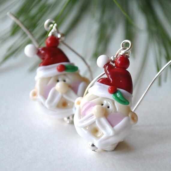 Santa claus earrings christmas lampwork glass by