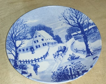 Vintage Decorative Porcelain Plate Blue & White Country Winter Scene