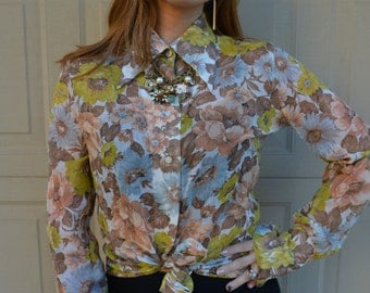 70s Blouse Long Sleeve Top Button Down Blouse Floral Print Blouse White Blue Pink and Green Epsteam