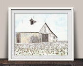 Wintery Blue Sky Above Scenic Barn Fine Art Print | Country Life | Country Wall Decor